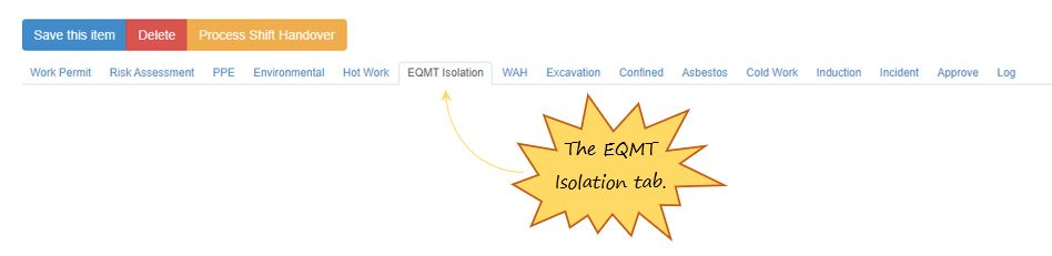 What is the EQMT Isolation tab in the PTW on OHS Online?