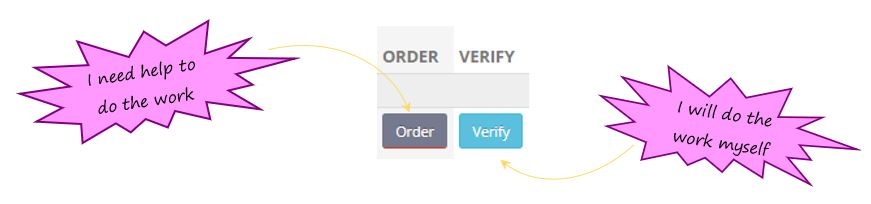 How do the Order and Verify action buttons work in the guidelines section on my SafetyWallet dashboard?