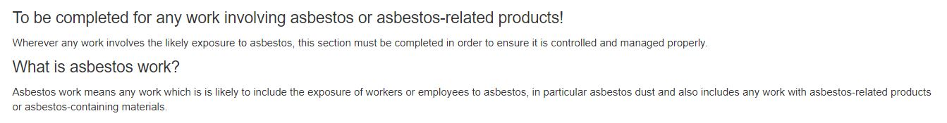 What is the Asbestos tab in the PTW on OHS Online?