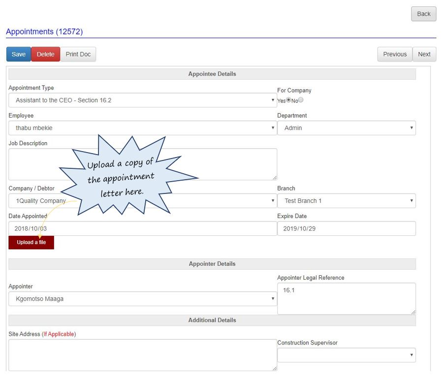 What does the Legal Appointments register do in OHS Online?