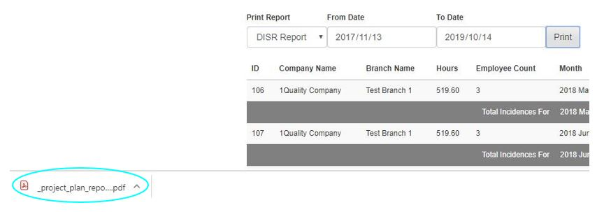 How do I print my DISR report in the Hours Worked register in OHS Online?