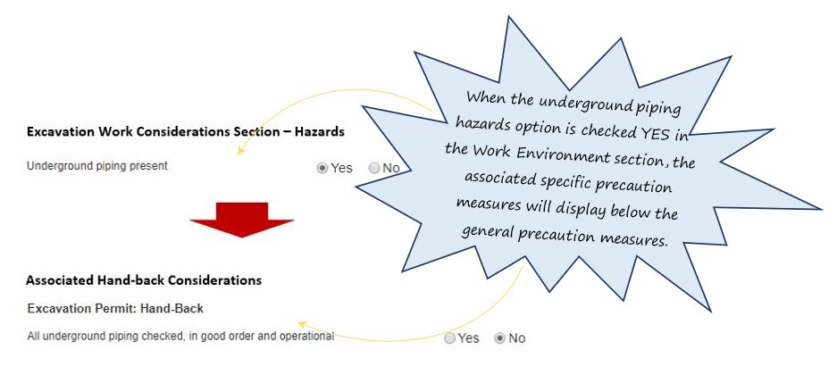 How do I complete the Precautionary Safety Measures section of the Excavation tab in the PTW system, in OHS Online?