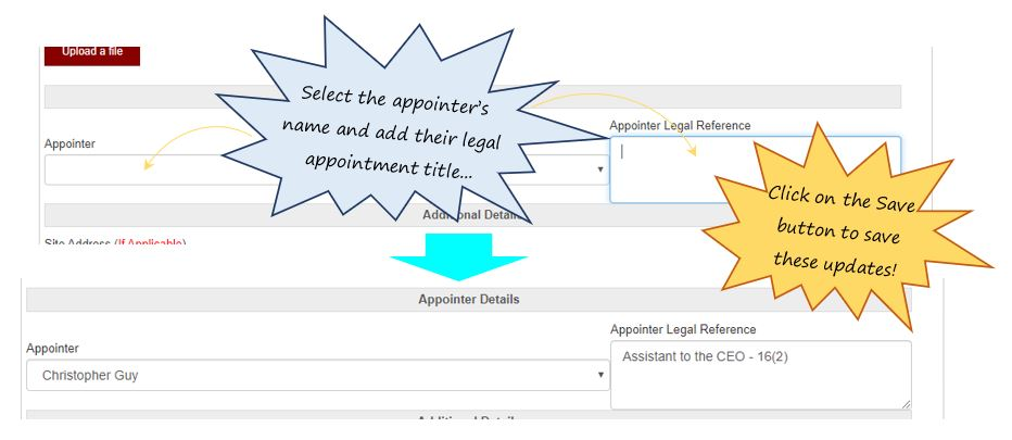 How do I create a new appointment in the Legal Appointments register in OHS Online?