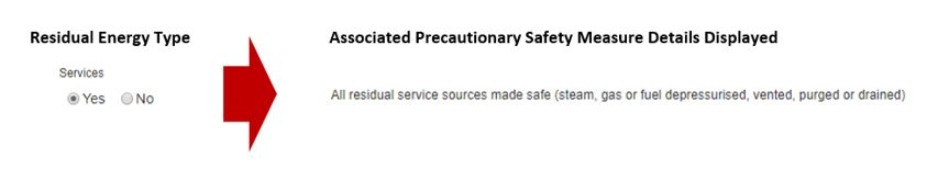 How does the Residual Energy Sources section work in the Precautionary Safety Measures section for machinery isolation in the EQMT Isolation tab, in OHS Online?